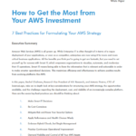 How to Get the Most from Your AWS Investment