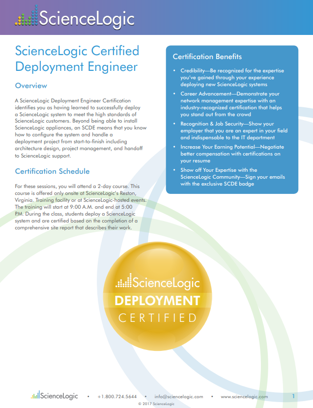 Product Training Sciencelogic Certified Deployment Engineer