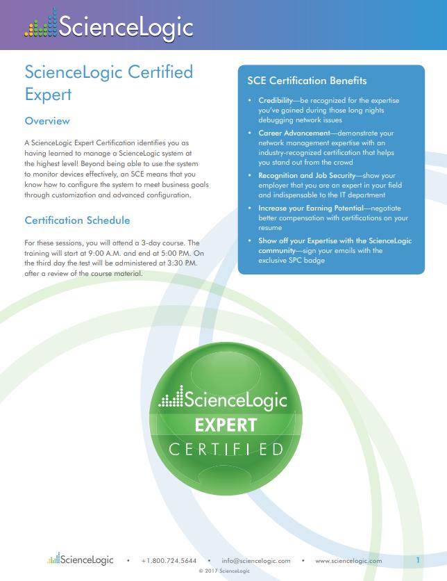 Product Training Sciencelogic Certified Expert Sciencelogic
