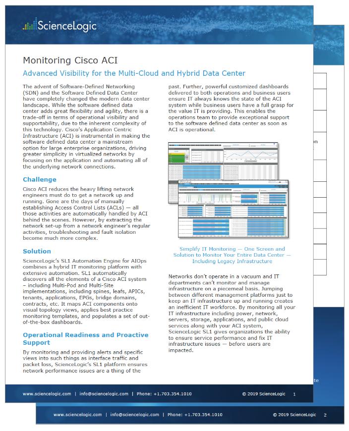 Monitoring Cisco ACI • Datasheet Resources • ScienceLogic