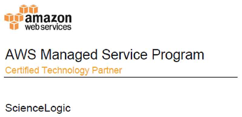ScienceLogic is an AWS Managed Service Program Certified Training Partner