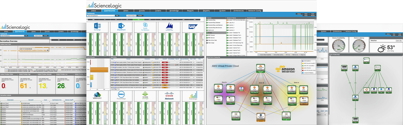 Screen captures of the ScienceLogic platform